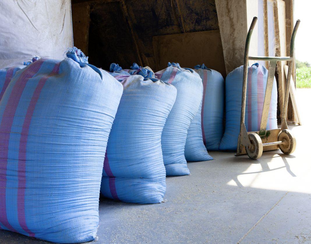 Fase finale della lavorazione del riso biologico a Mede. Il cereale è contenuto in grandi sacchi di tessuto celeste con bande rosse, affiancati da sinistra a destra in un magazzino, a lato un piccolo carrello manuale in metallo dipinto di giallo.