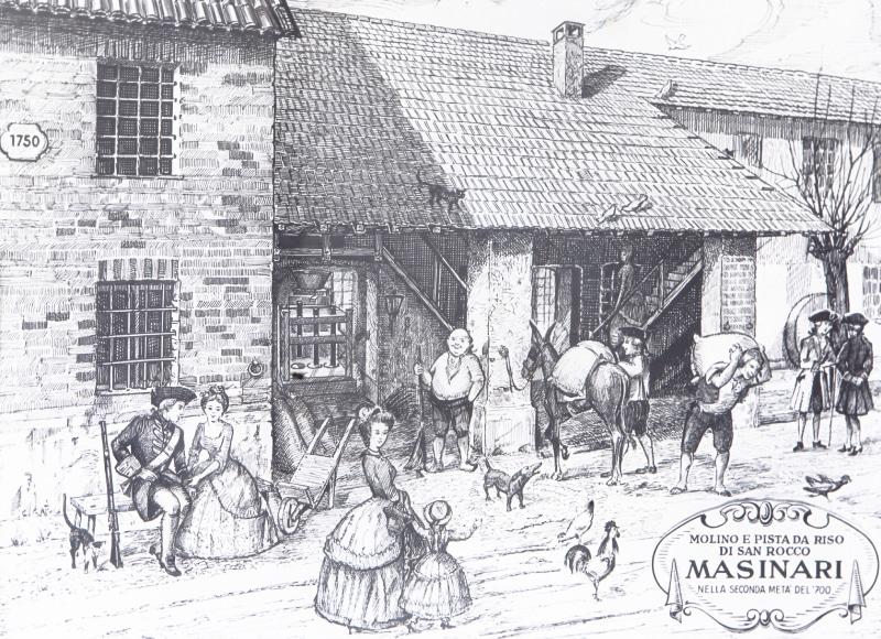 Litografia illustrante un momento della vita dell'antico mulino e la pista da riso della riseria Masinari.