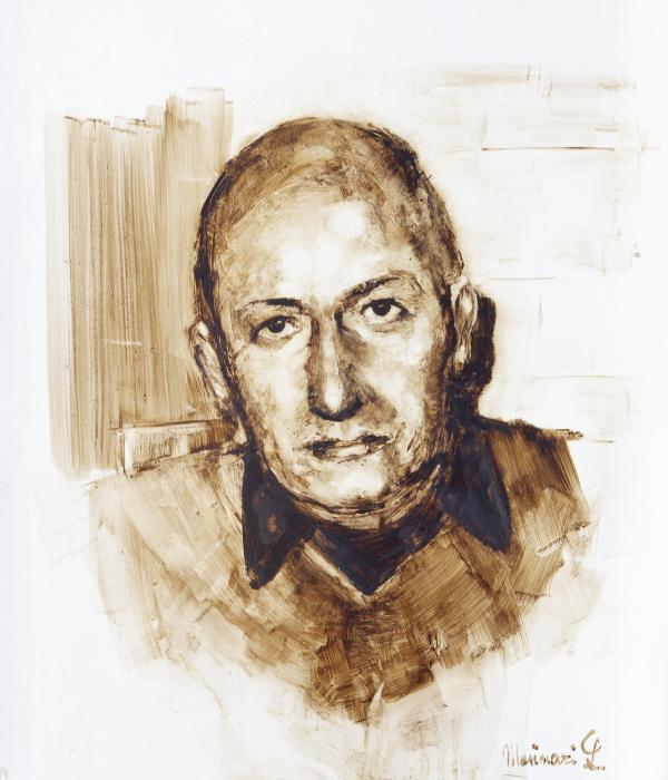 """Ritratto con la tecnica del bitume di uomo maturo con camicia scura, firmato """"Masinari L."""". Si tratta di Giuseppe Masinari, promotore della coltivazione del riso integrale biologico a Mede."""