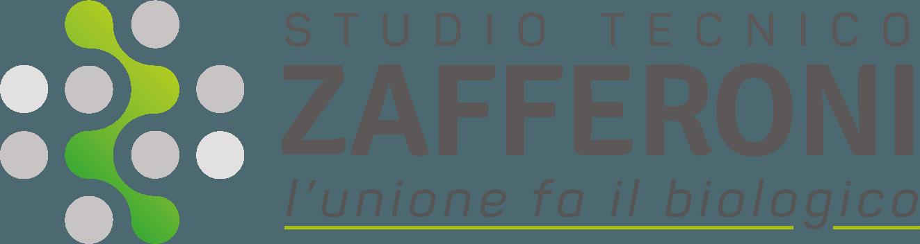 """Logo dello Studio tecnico Zafferoni, con la scritta """"L'unione fa il biologico"""" e sulla sinistra un disegno con cerchi grigi e verdi a formare una """"z""""."""
