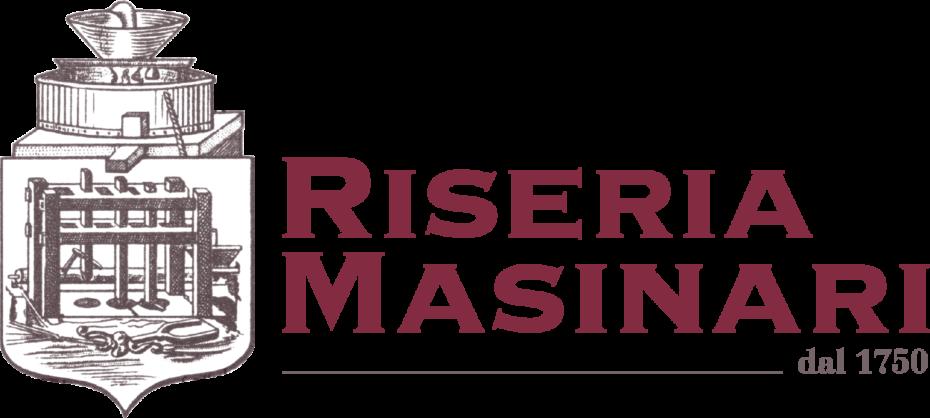 """Logo dell'antica Riseria Masinari, appartenente alla stessa famiglia da quasi tre secoli. A sinistra si osserva lo stemma che rimanda alle attrezzature per la lavorazione del riso, a destra la scritta in colore rosso scuro """"Riseria Masinari dal 1750""""."""